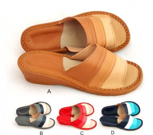 Ladies//Womens 100/% Natural Leather Slippers Size:3,4,5,6,7,