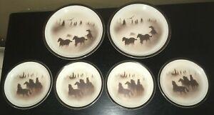 Big-Sky-Thomas-Norby-WILD-HORSES-2-Dinner-Plates-4-Salad-Plates