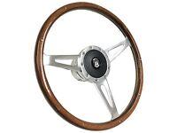 1968 - 1974 Vw Transporter Bus 9 Bolt Wood Steering Wheel Kit & Castle Emblem