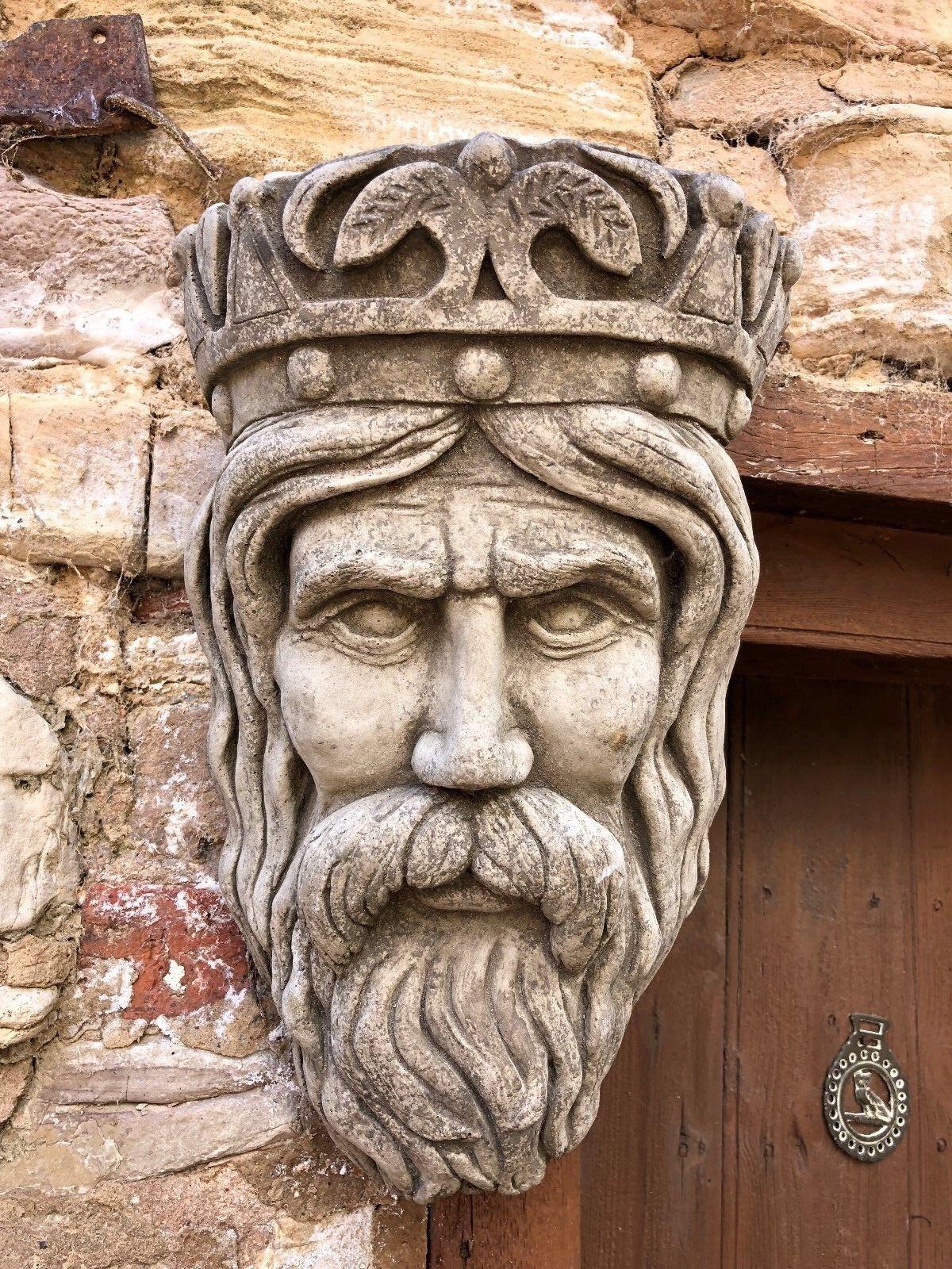 Kings Head Piedra Plantador Ornamento Placa de parojo, Jardín Hogar, escultura colgante de parojo