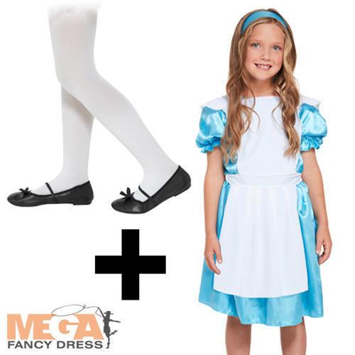 White Tights Alice In Wonderland Girls Fancy Dress Kids Fairtytale Costume