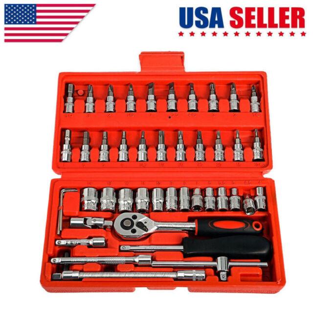 "46Pcs 1//4/"" Spanner Socket Screwdriver Car Repair  Ratchet Wrench Set"