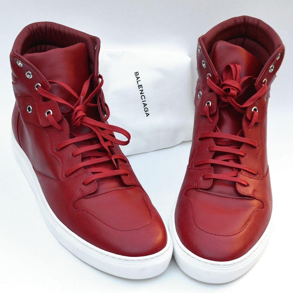 BALENCIAGA New sz 40 - 7 Auth Designer High Top Designer Mens Sneakers Shoes red