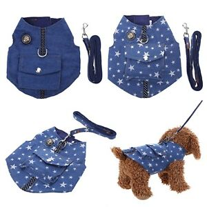 Pet-Dog-Cat-Puppy-Collars-Denim-Harness-Vest-Chest-Strap-Leash-Traction-Rope
