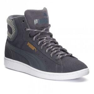 Dettagli su Scarpe Donna Puma Vikky Mid Twill Sfoam 362629 01 Grigio Sneakers Alta Nuovo