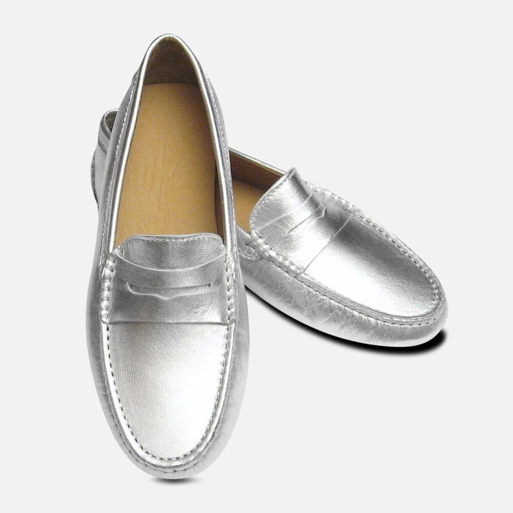 Argent Métallisé Cuir Arthur Chevalier Femmes Italien Conduite Chaussures