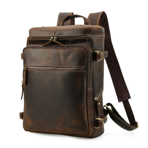 Men/'s Leather 15.6/'/' Laptop Backpack Shoulder Bag Travel Hiking Weekend Handbag