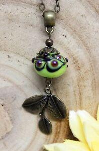 Glass-Jewels-Bronze-Halskette-Lampwork-Perle-Vintage-Gruen-Blatt-Herbst-N029