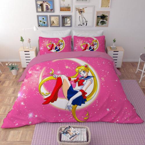 3D Anime Sailor Moon Bedding Set Duvet Cover Quilt Cover Pillowcases Bedclothes