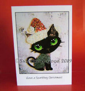 NEW-Devon-Rex-cat-Christmas-cards-6-from-original-painting-by-Suzanne-Le-Good