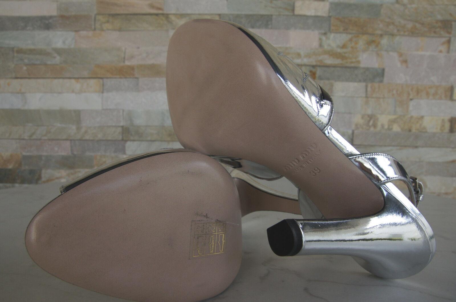 MIU Miu taglia 39 Sandali Sandali Sandali Tacco Alto Scarpe 5x315a argento nero NUOVO UVP 52e228