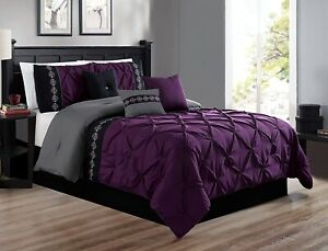 7Pc-Queen-Size-Dark-Purple-Gray-Black-Double-Needle-Pinch-Pleat-Comforter-Set