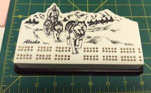 Alaska-Cribbage-Board-Dog-Musher-engraved-very-nice-hard-to-find-older-item