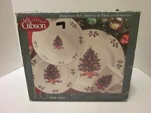 Image is loading Gibson-China-Noel-Morning-16pc-Christmas-Dinnerware-Dishes- & Gibson China Noel Morning 16pc Christmas Dinnerware Dishes Set ...