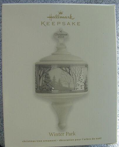 NIB 2012 HALLMARK WINTER PARK PORCELAIN CHRISTMAS TREE KEEPSAKE ORNAMENT NEW