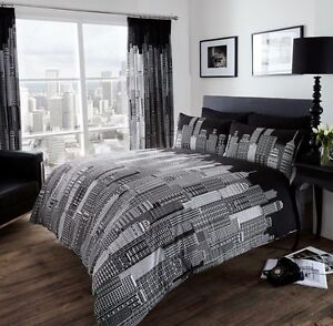 New black white new york skyline printed bedding bed duvet set all sizes ebay for Cityscape bedroom furniture collection