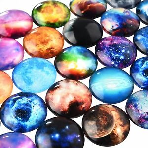 20 mm Flatback Cameo Space Galaxy Mixed Color Round Glass Cabochon DIY