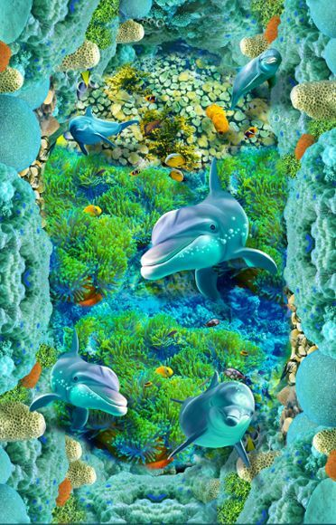 3D Peces Mar Piedra Piso impresión de parojo de papel pintado mural 501 Calcomanía 5D AJ Wallpaper