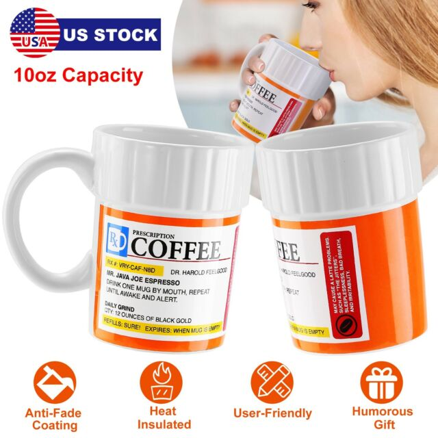 10oz Ceramics Coffee Tea Mug Cup Prescription Pill Mug For Caffeine Lover US