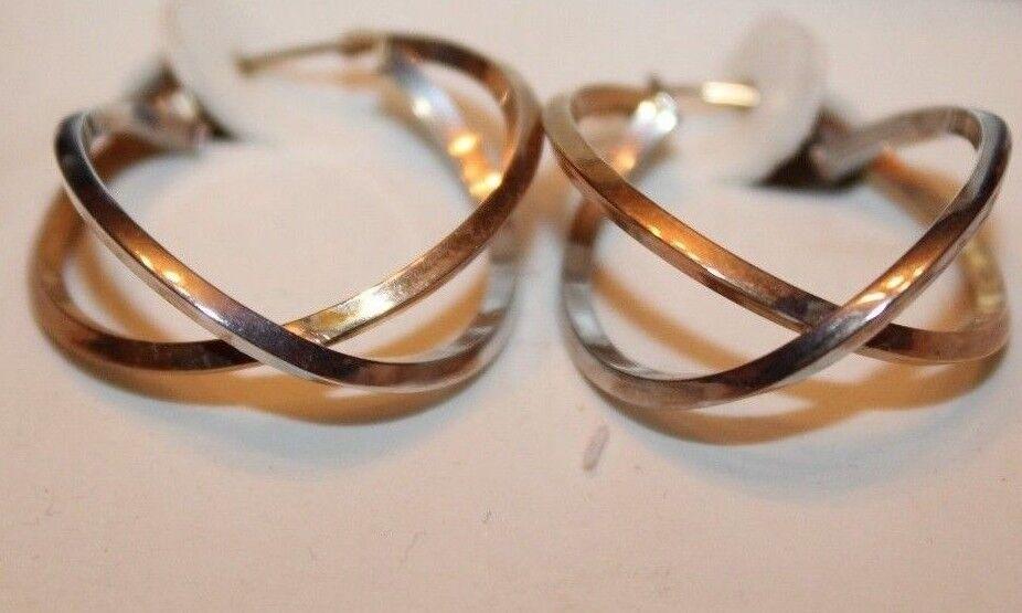 14K Two-Tone Double Hoop Earrings
