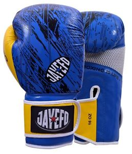 Jayefo-Leather-boxing-gloves-Gel-MMA-Muay-thai-Kick-Boxing-sparring-gloves-blue