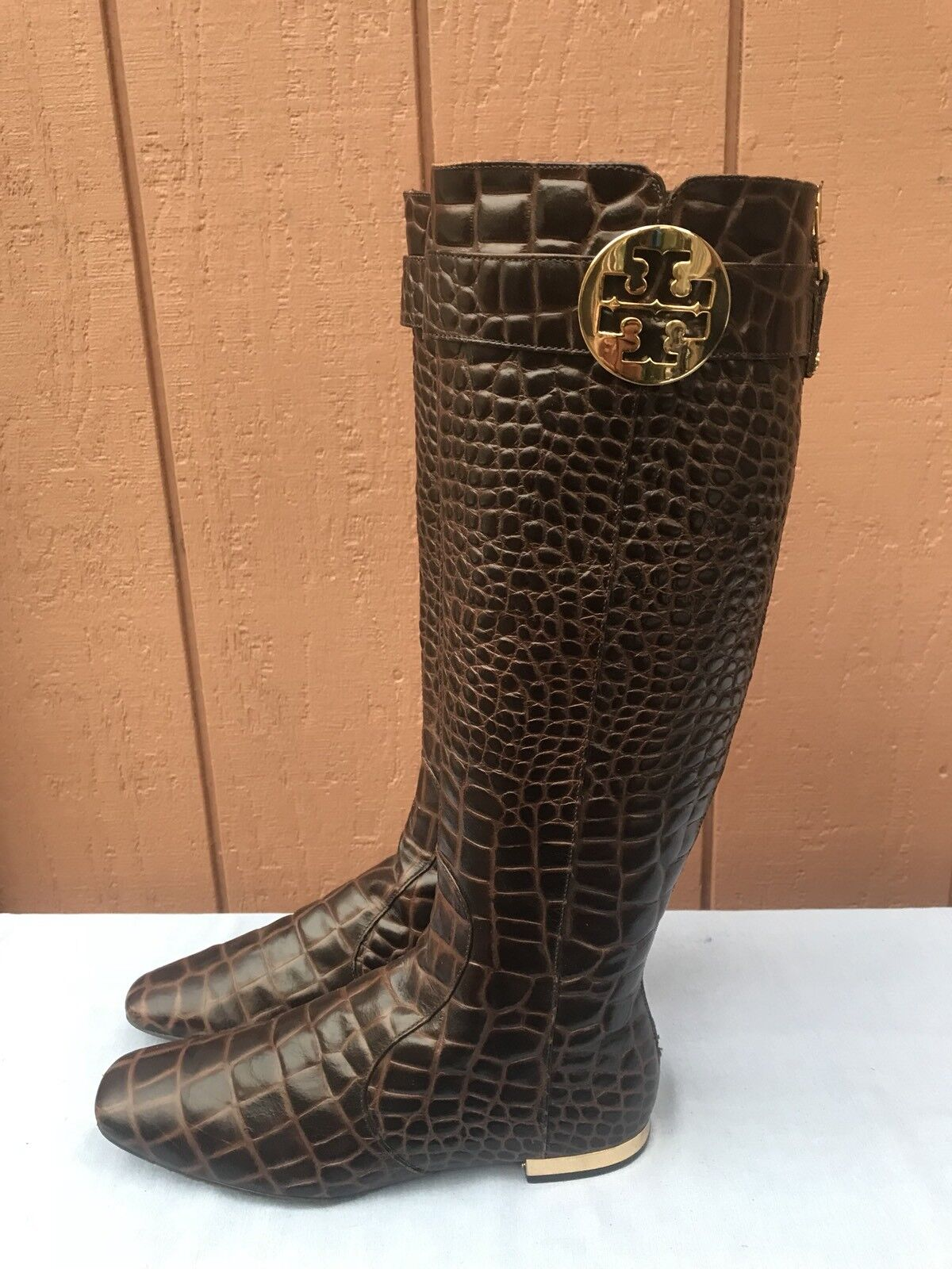 AUTHENTIC TORY BURCH Equestrian Boot Croc Brown Pelle Golden Logo Size   8.5