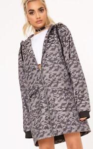 PrettyLittleThing-Womens-Grey-Camo-Long-Line-Hooded-Jacket-Size-12-LS079-DD-03
