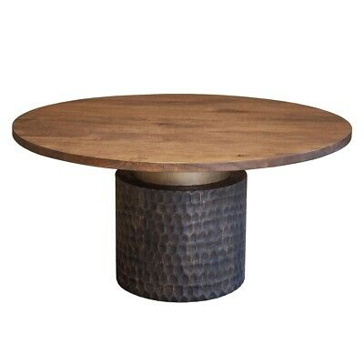 60 W Round Dining Table Solid Mango Wood With Reclaimed Iron Base Modern Ebay