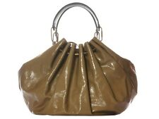 LANVIN Taupe Patent Sac Polisson PM Bag Purse - Huge and slouchy