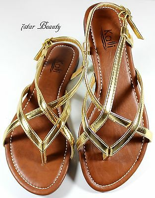 New Women T - Strap Gladiator Thong Strappy Flat Flip Flops Sandals Shoes Size-N