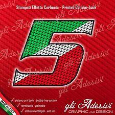 Adesivo Stickers NUMERO 5 moto auto cross gara Carbon Effect Tricolore Ita 10 cm