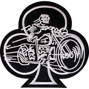 Playing Card Club Patch Iron Sew On Badge Skeleton Biker Motorcycle Motorbike