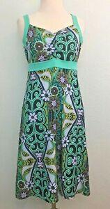 Prana-Amaya-Dress-Empire-Waist-Floral-Stretch-Shelf-Bra-Mint-Green-Purple-Size-S