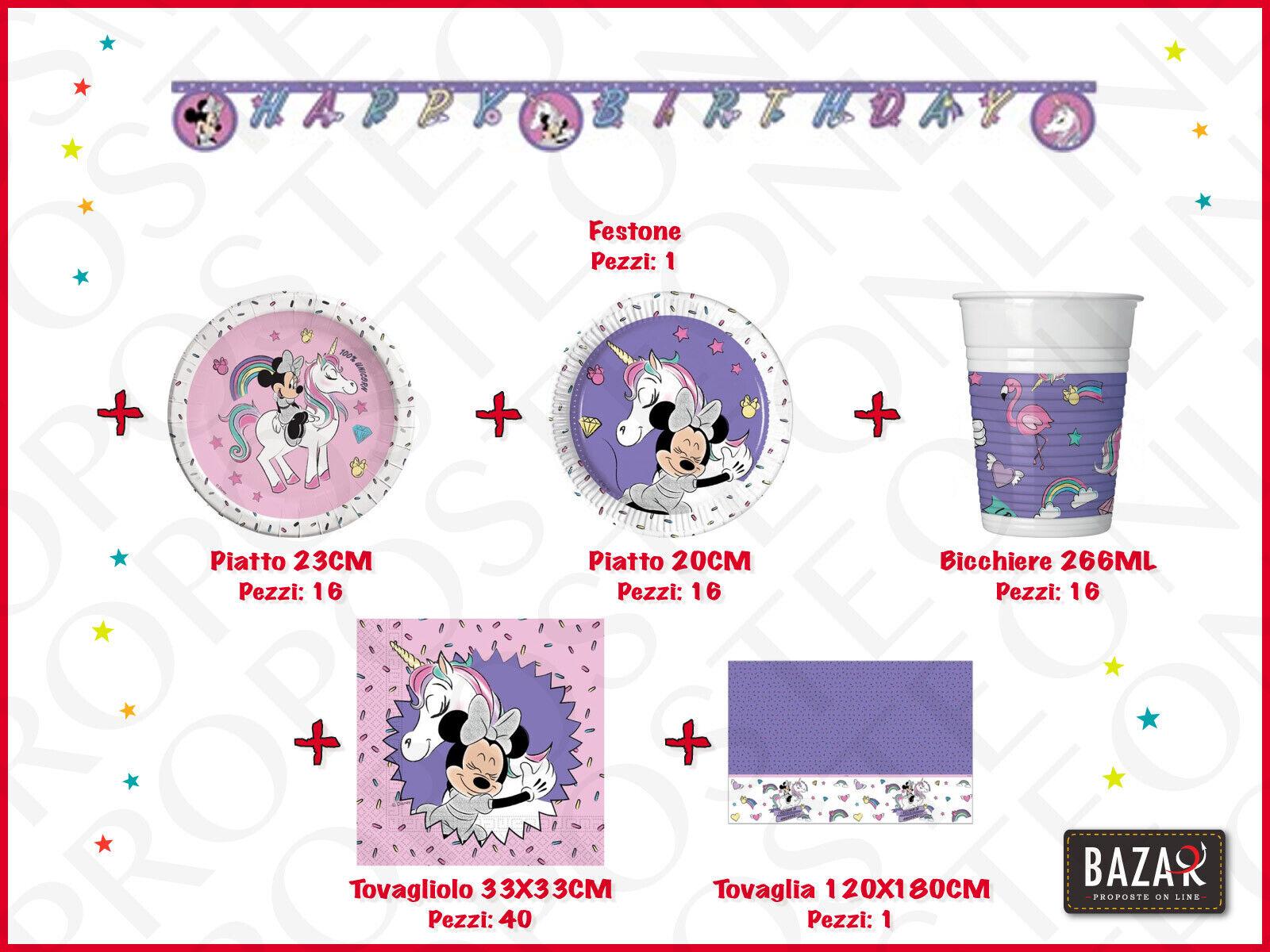 Minnie Unicorn Kit Festa Party 100% Ufficiale Compleanno Festa per Bambini 3069