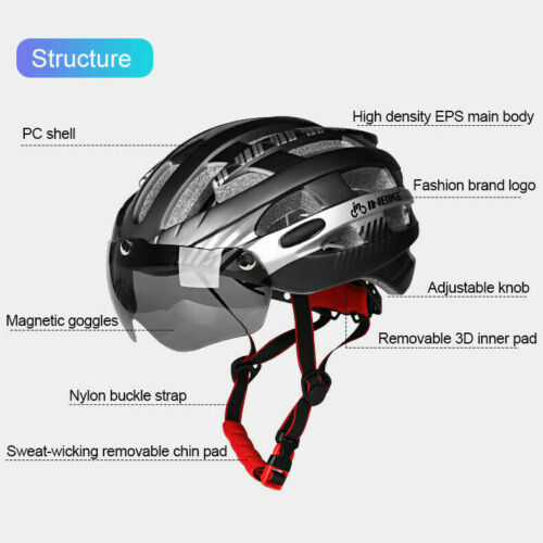 INBIKE Road Mountain Bike MTB Bicycle Cycling Safety Helmet Magnetic goggles UK