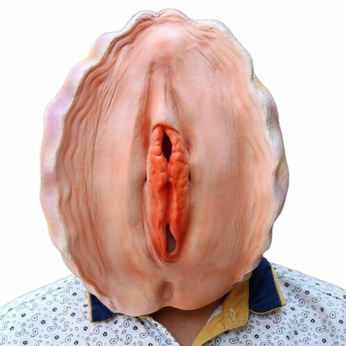 Adult prank perineum Latex shell Head mask Funny conch Prop Masquerade Halloween