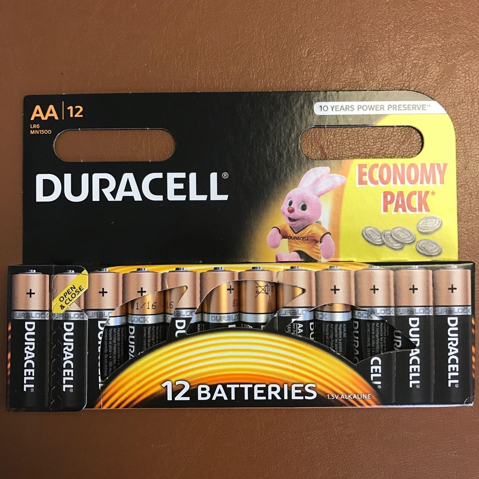 Duracell AA Long Lasting Power Alkaline Battery Economy Pack 12 Batteries LR6