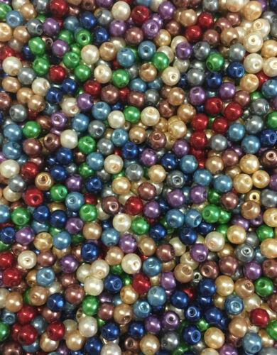 100 pcs 6 mm perles de verre brillant Metallic-couleur au choix-perles beads verre