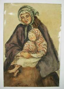 034-Pauper-034-One-Mother-amp-His-Her-Child-Drawing-Xixth-Watercolour-Poor-Gens-People