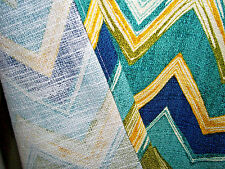 Pr fine geometric barkcloth cotton fabric zig zag vintage drapery curtain panels