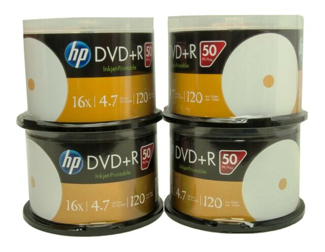 200 HP White inkjet printable 16X 4.7GB DVD+R NEW (50 pack x 4)