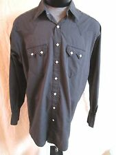ROCKMOUNT RANCHWEAR WESTERN PEARL SNAP FRONT BLACK SHIRT MEN 18/35  QUICK SHIP