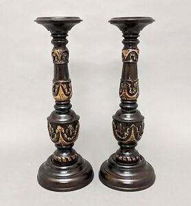 Details About Candle Holders Pair Carved Wood 18 Tall Brown Finish For 3 Or 4 Pillar Candle