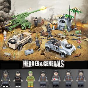 8pcs-set-Militaer-Fahrzeug-Waffen-Bausteine-Blocks-mit-WW2-Soldaten-Armee-Figuren