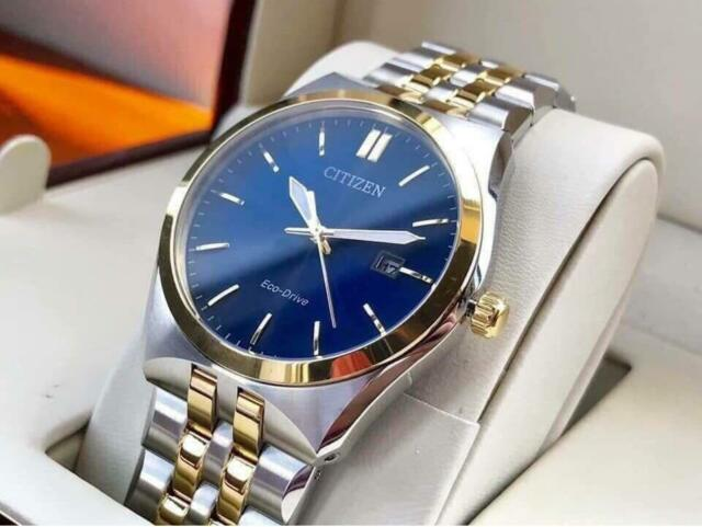 Citizen BM7334-66L Eco-Drive Blue Dial Stainless Steel Analog Date Men's Watch