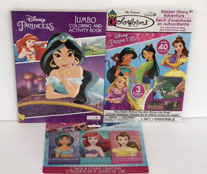 3-Disney-Princess-Jumbo-Coloring-amp-Activity-Book-Crayons-Sticker-Story-Jasmin