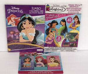 3-Disney-Princess-Jumbo-Coloring-amp-Activity-Book-Crayons-Sticker-Story-Jasmin