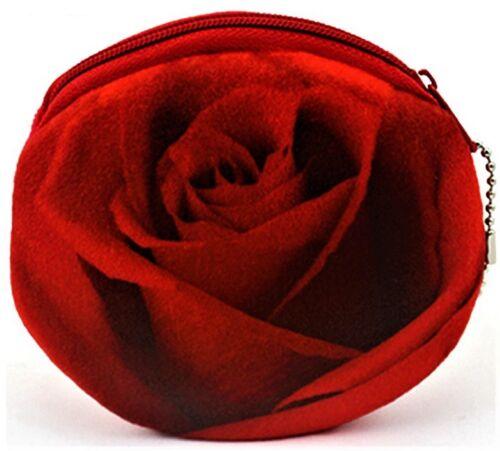 Rose Shape Coin Purse Zip Money Change Holder Organiser Love Novelty Gift