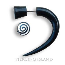 Aretes eliminar en espirales cuerno Fake Plug piercing hoz joyas f036