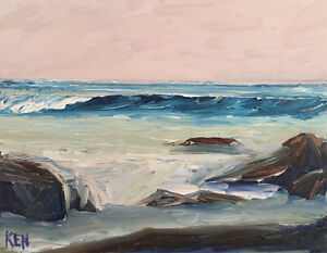 CENTRAL-CALIFORNIA-TWO-Original-Expression-Seascape-Painting-11x14-040819-KEN